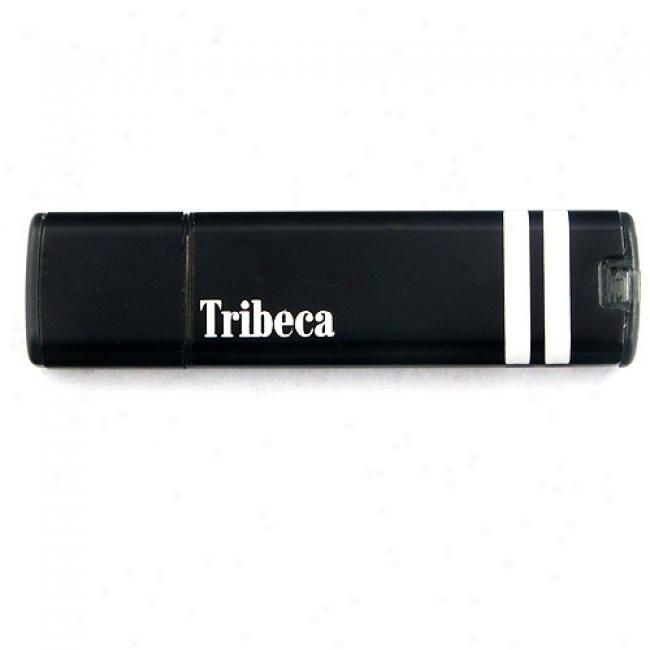 Tribeca 1gb Black With White Racing Strip Splash Usb Flash Drive