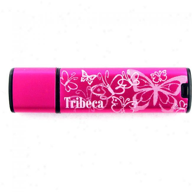 Tribeca 2gb Butterfly Splash Usb Momentary blaze Drive, Pink