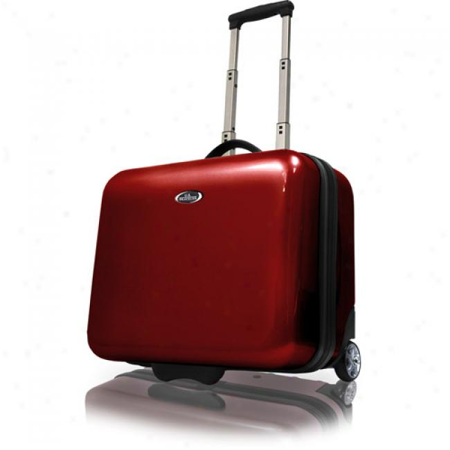 Us Traveler Rolling Laptop Briefcase, Red