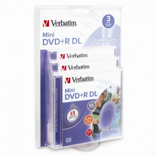 Verbatim 55-min Mini Dvd+r Dl For Camcorders, 3-pack
