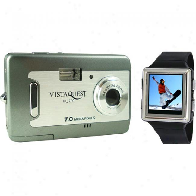 Vistaquest V700 Gray 7 Mp Dgital Camera & 2.4