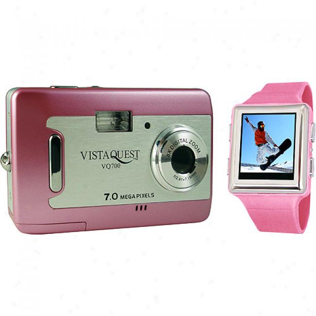 Vistaquest V700 Pink 7 Mp Digital Camera & 2.4