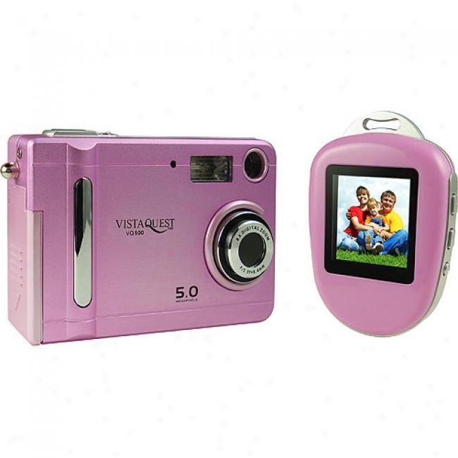 Vistaquest Vq-500 Pink 5mp Digital Camera W/ Photo Viewer