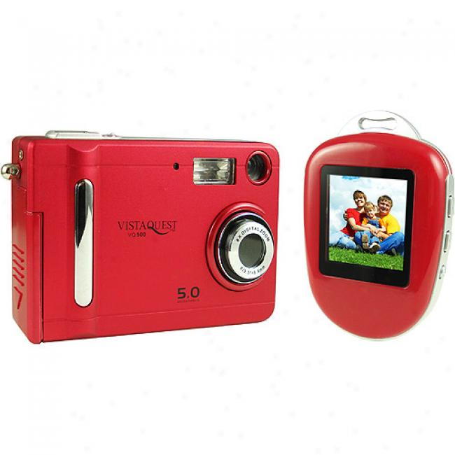 Vistaquest Vq-500 Red 5mp Digital Camera W/ Photo Viewer