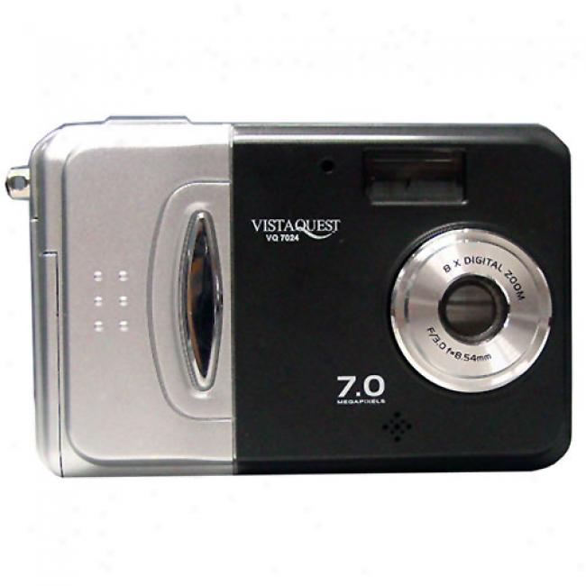 Vistaquest Vq-7024 Black/silver 7 Mp Digital Camera W/ 8x Digital Zoom