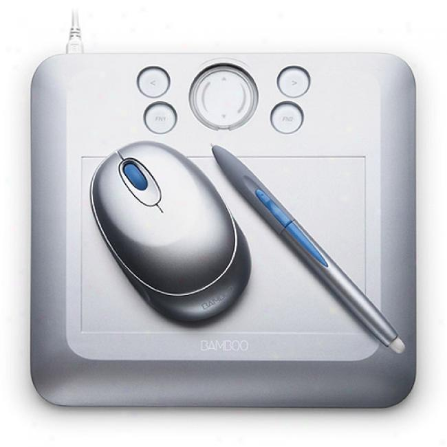 Wacom Bamboo Fun Small Graphics Tablet, Silver