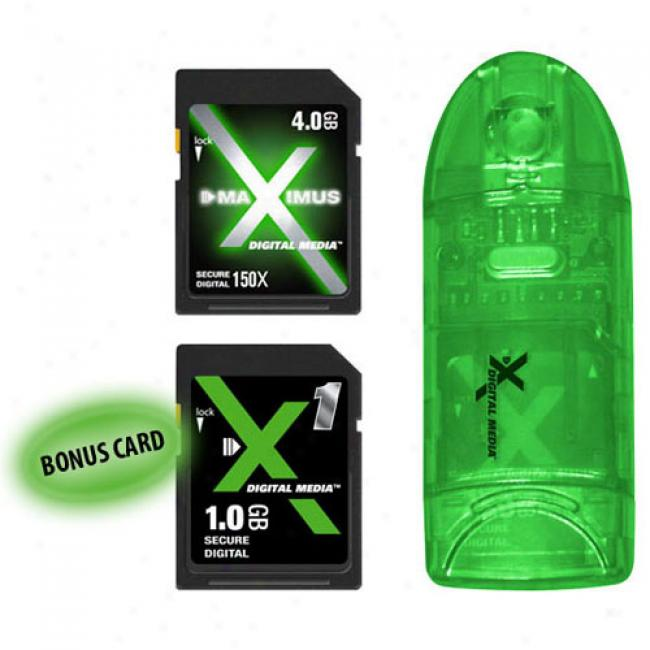X Digital Media 4gb Maximus 150x Sdhc Card With Card Reader/writer & 1gb Sd