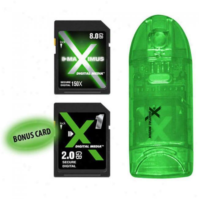 X Digital Media 8gb Maximus Sdhc Card 150x With Card Reader/writer & 2gb Sd