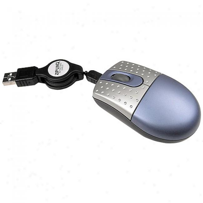 Zip-linq Mini Optical Mouse With Re5ractable Cable