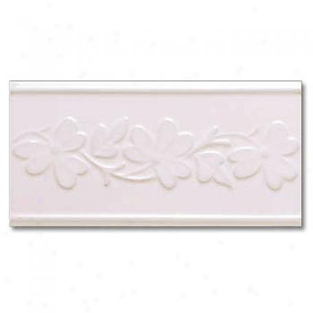 Adex Usa Neri Flowers 2 Listello Bisque Tile & Stone