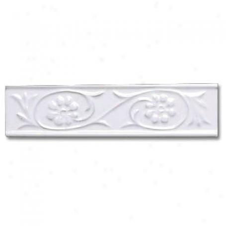 Adex Usa Neri Flowers 4 Listello White Tile & Stone