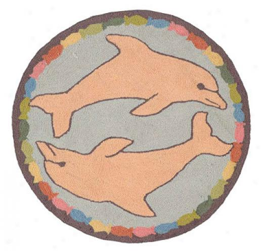American Cottage Rugs Children Round Dolphin Blue Area Rugs
