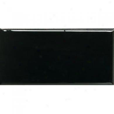 American Olean Gfeenwich Village 3 X 6 Gloss Black Tile & Grave~