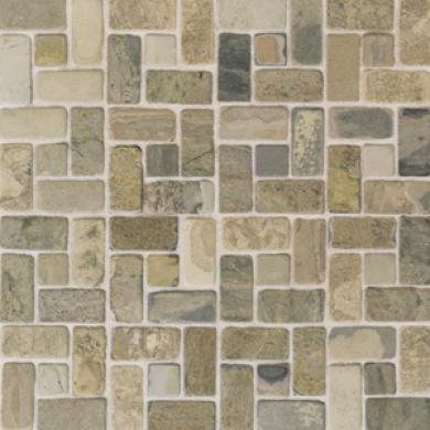 American Olean Tjmbled Slate Mosaic 1 X 1 India Multicolor Tile & Stone