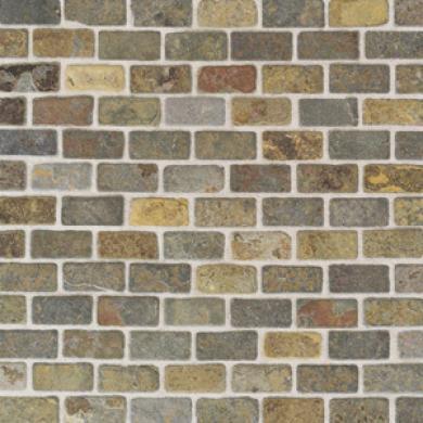 American Olean Tumbled Slate Brick Mosac China Multicolor Tilr & Stone