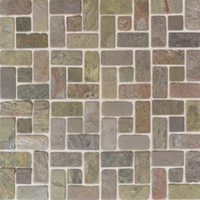 American Olean Tumbled Slate Pinwheel Mosaic India Multicolor Tile & Stone