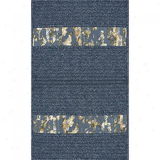 Ams Imports Denim Floral 11 X 14 Denim Floral Blue Ribbon Area Rugs