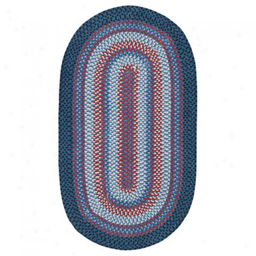 Capel Rugs Cottonside 7x9 Oval Navy Red Area Rugs
