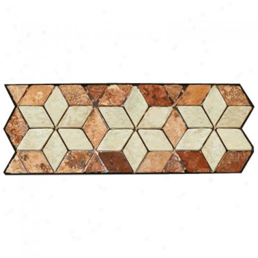 Caribe Stone Decorative Borders - Travertine Star Rust Tile & Stone