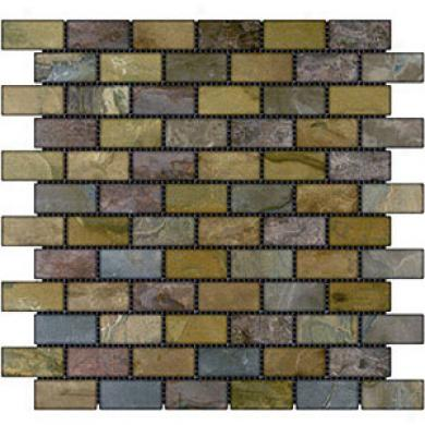 Caribe Stone India Tumbled Slate Brick Mosaic Autumn Tile & Face with ~