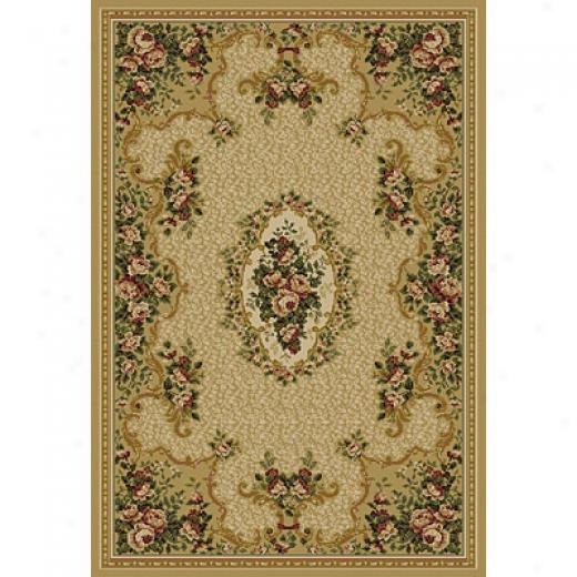Central Oriental Canyon - Aubusson 2 X 5 Aubusson Beige Area Rugs