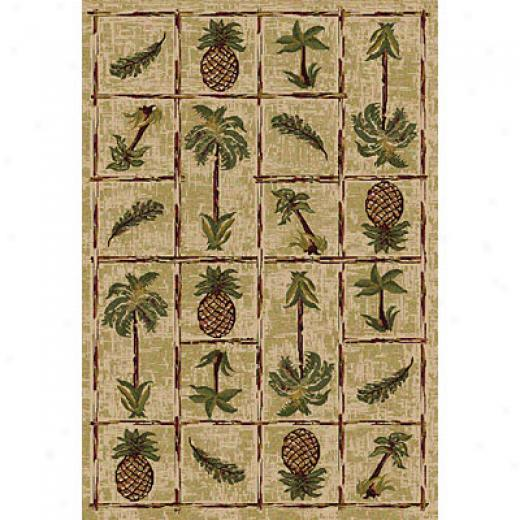 Central Oriental Canyon - Palm Panel 2 X 5 Palm Panel Beige Area Rugs