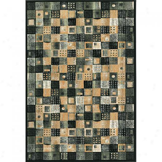 Central Oriental Domino 6 X 9 Domino Black Area Rugs