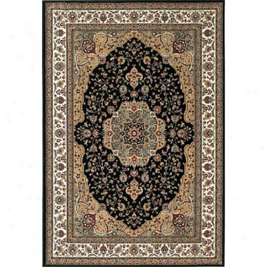 Central Oriental Rosette 10 X 13 Rosette Negro Superficial contents Rugs