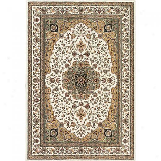 Central Oriental Rosette 7 X 10 Rosette Ivory Area Rugs