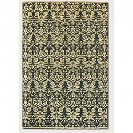 Couristan Chobi 5 X 8 All Over Damask Black Ivory Area Rugs