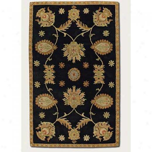 Couristan Dynasty 3 X 4 All Over P3rsian Vine Black Area Rugs