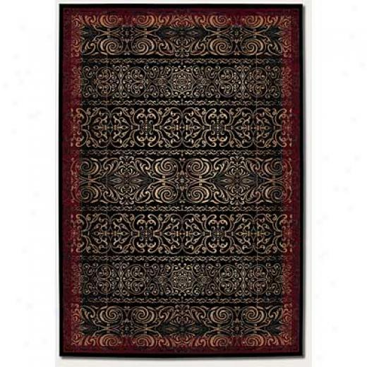 Couristan Everest 5 X 8 Performed Iron Scroll Black-crimson Yard Rugs