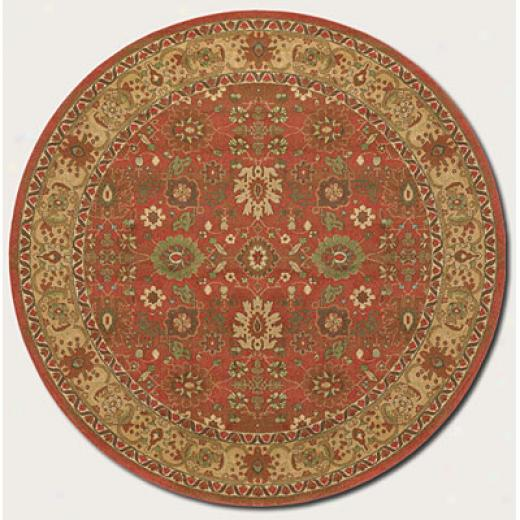 Couristan Pera 8 Round All Excessively Mashhad Crimson Fawn Area Rugs