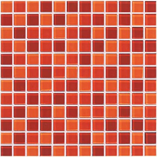 Crossville Glass Blox Blend Mosaic 1 X 1 Orange Sizzle/flame/dazzle Red Tile & Grave~
