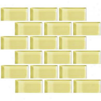 Crossville Glass Blox Brick 2 X 4 Inlaid Lemon Zestt Tile & Stone