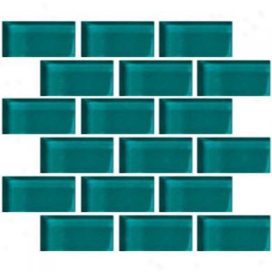 Crossville Glass Blox Brick 2 X 4 M0saic Vivid Teal Tile & Stone