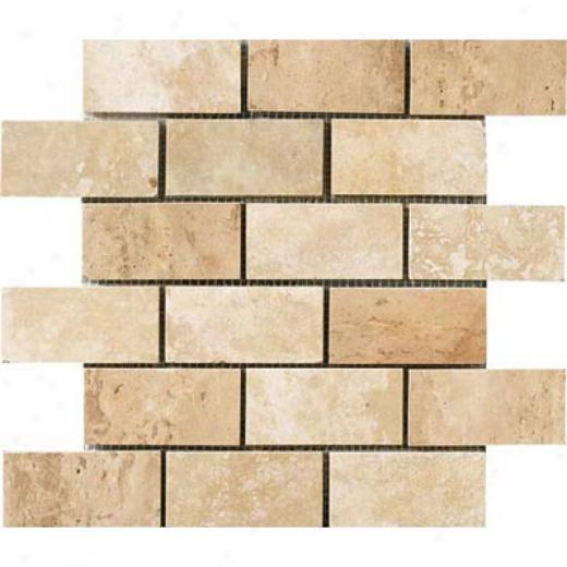 Crossville Siren Brick Mosaic 2 X 4 White Travertine Tile & Stone