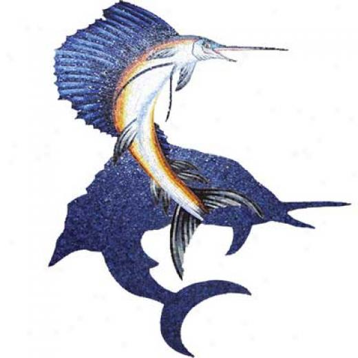 Daltile Glass Mosaic Murals Sailfish With Shadow 89 X 110 Tile & Stone