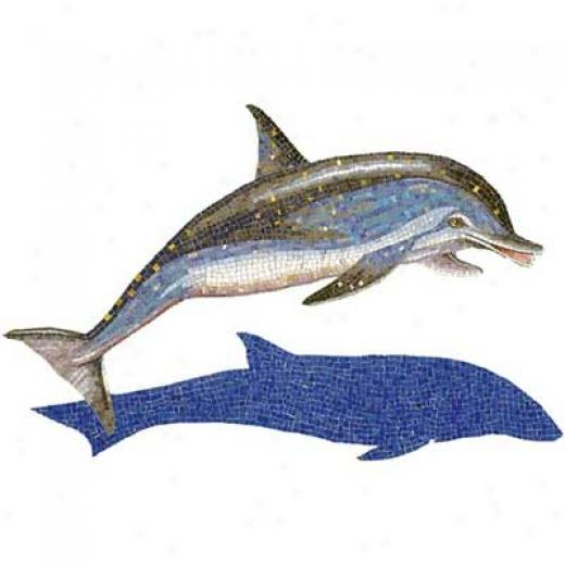 Daltile Glass Mosaic Murals Soptted Dolphin With Shadow 31 X49 Tile & Stone