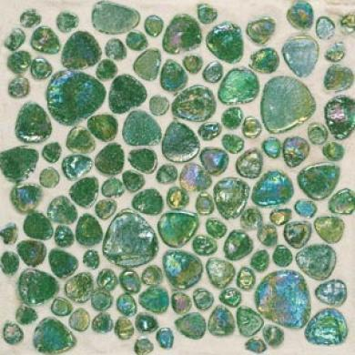 Daltile Glass Pebbles Mosaic Emerald Green Iridescent Tile & Stone