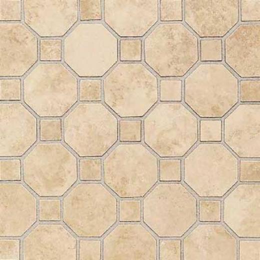 Daltile Salerno Octagon Dot Moszics Marr0ne Chiaro Tile & Stone