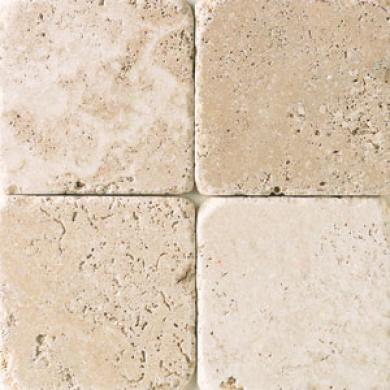 Daltile Tumbled Natural Stone 4 X 4 Mediterranean Ivory Tile & Stone