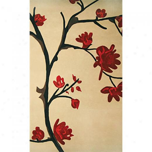Delos, Inc. Bloom 5 X 8 Cherry Blossom Khaki Area Rusg
