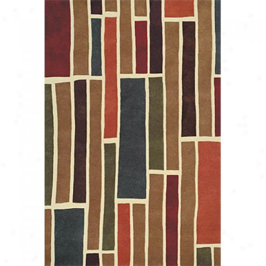 Delos, nIc. Swank 8 X 11 Blocks Brown Multi Area Rugs