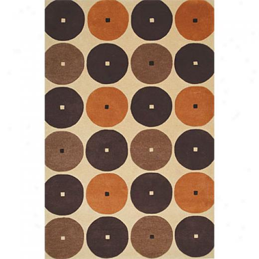 Delos, Inc. Swank 8 X 11 Roller Derby Beige Orange Area Rugs