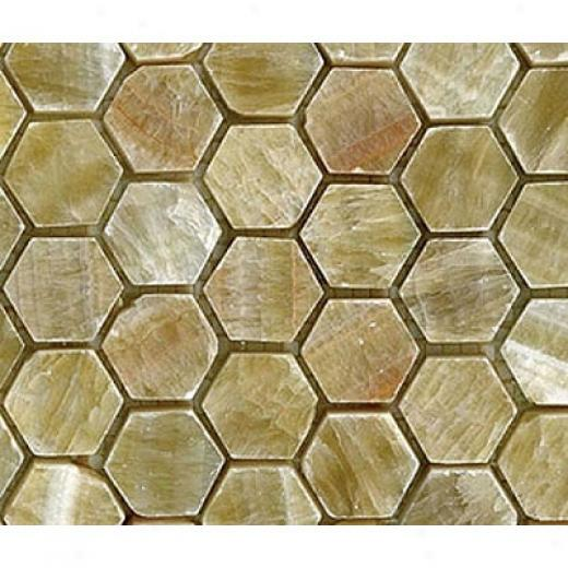 Diamond Tech Glass Msrble Series Hexagon Polished Mosaic Honey Onyx Tile & Stone
