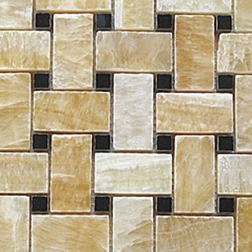 Diamond Tech Glass Marble Series Basketweave Honey/black Dot Tile & Stone