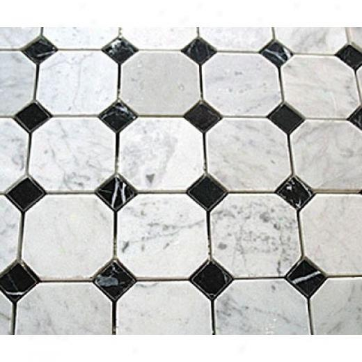 Diamond Tech Glass Marble Series Octagon Mosaic White Statuary/black Dot Tile & Stone