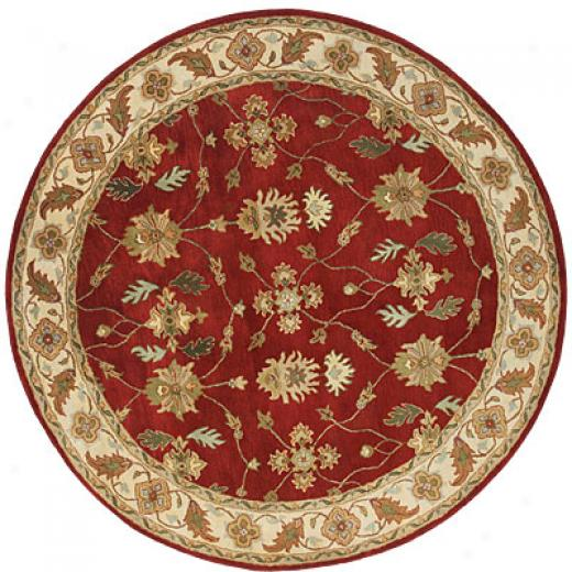 Dynamic Rugs Charisma 8 Round Red Ivory Area Rugs