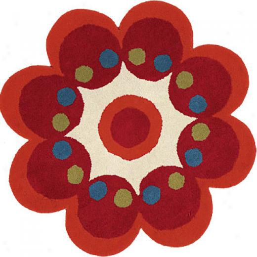 Dynamic Rugs Fantasia 2 X 2 Flowers Red Area Rugs